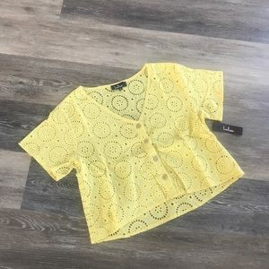Lulus Yellow Eyelet Crop Top